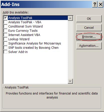 Install SNP Tools in Windows 2000-XP and Excel 2000-2003
